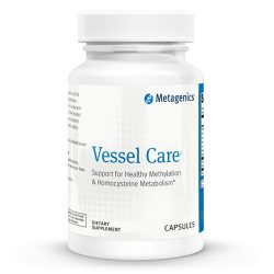 Vessel Care - For a Healthy Heart and Circulatory System Vessel Care provides a targeted blend of multiple nutrients shown to support healthy methylation—folate, trimethylglycine, choline, and vitamins B6 and B12. Methylation influences many areas of health. In the cardiovascular system, healthy methylation promotes healthy homocysteine levels, which in turn influence blood vessel (vascular) health and blood flow (circulation ). Ingredients Riboflavin, vitamin B6 (as pyridoxine HCl), folate (as calcium L-5-methyltetrahydrofolate), vitamin B12 (as methylcobalamin), zinc (as zinc citrate), trimethylglycine, choline (as choline bitartrate), intrinsic factor. Other Ingredients: microcrystalline cellulose, cellulose, calcium silicate, stearic acid (vegetable), croscarmellose sodium, magnesium stearate (vegetable), and coating (hypromellose, maltodextrin, and polyethylene glycol). Warnings If pregnant or nursing, or taking medication, please consult your healthcare practitioner before use. Keep out of the reach of children. Directions Take one tablet daily or as directed by your healthcare practitioner. Keep tightly closed in a cool, dry place. Storage Keep lid tightly closed and store in a cool dry place. Non GMO and Gluten Free. Contains 60 Capsules